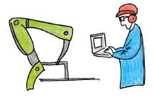 Technicien·ne manipulant un robot.